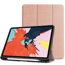 iPad Hoes voor Apple iPad Air 2020 Hoes Cover - 10.9 inch - Tri-Fold Book Case - Apple Pencil Houder - Rosé Goud
