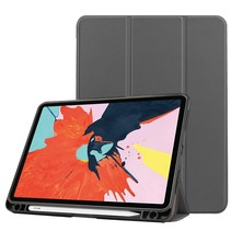 iPad Hoes voor Apple iPad Air 2020 Hoes Cover - 10.9 inch - Tri-Fold Book Case - Apple Pencil Houder - Grijs