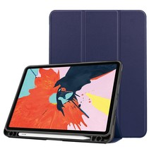 iPad Air 2020 hoes - 10.9 inch - Tri-Fold Book Case met Apple Pencil Houder - Donker Blauw