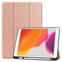 iPad 2020 hoes - 10.2 inch - Tri-Fold Book Case met Apple Pencil houder - Rose Goud