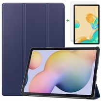 Samsung Galaxy Tab S7 Plus Hoes en Screenprotector - 12.4 inch - Tablet hoes en Screenprotector  - Donker Blauw
