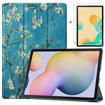 Samsung Galaxy Tab S7 Plus Hoes en Screenprotector - 12.4 inch - Tablet hoes en Screenprotector  - Witte Bloesem