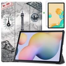 Samsung Galaxy Tab S7 Plus Hoes en Screenprotector - 12.4 inch - Tablet hoes en Screenprotector  - Eiffeltoren