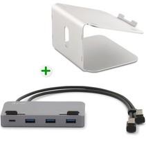 LMP - Ergonomische laptop standaard + aansluitbare USB-C Hub - Laptophouder - Geschikt voor 12 tot 17 inch - Aluminium - Space Grey