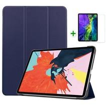 iPad Air 2020 hoes - 10.9 inch - hoes en Screenprotector - Tablet hoes met Auto sleep/wake Functie - Donker Blauw