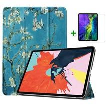 iPad Air 2020 hoes - 10.9 inch - hoes en Screenprotector - Tablet hoes met Auto sleep/wake Functie - Witte Bloesem