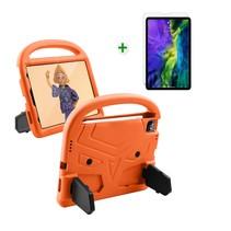iPad Air 2020 hoes met screenprotector - 10.9 inch - Schokbestendige case met handvat - iPad hoes Kinderen - Oranje