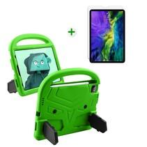 iPad Air 2020 hoes met screenprotector - 10.9 inch - Schokbestendige case met handvat - iPad hoes Kinderen - Groen