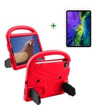 iPad Air 2020 hoes met screenprotector - 10.9 inch - Schokbestendige case met handvat - iPad hoes Kinderen - Rood