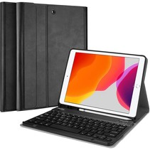 iPad 2020 hoes - 10.2 inch - Bluetooth Toetsenbord Case met Stylus pen houder - Zwart