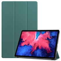 Lenovo Tab P11 Hoes - 11 Inch - Tri-Fold Book Case - Auto Sleep/Wake Functie - Donker Groen
