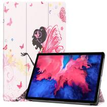 Lenovo Tab P11 Hoes - 11 Inch - Tri-Fold Book Case - Auto Sleep/Wake Functie - Flower Fee