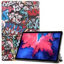 Lenovo Tab P11 Hoes - 11 Inch - Tri-Fold Book Case - Auto Sleep/Wake Functie - Graffiti