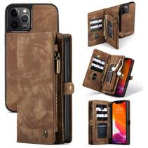 CaseMe - iPhone 12 Pro Max hoesje - 2 in 1 Wallet Book Case - Bruin