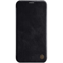 Apple iPhone 12 / 12 Pro Hoesje - Qin Leather Case - Flip Cover - Zwart