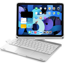 iPad Air 10.9 (2020) - QWERTY - Bluetooth Toetsenbord hoes - Toetsenbord verlichting en Touchpad - 360 graden draaibaar - Zilver