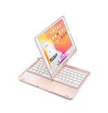 Case2go iPad 10.2 2019 / 2020 case - QWERTY - Bluetooth Toetsenbord hoes - met Touchpad & Toetsenbord verlichting - 360 graden draaibaar - Rose Goud