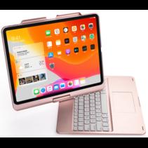 iPad Pro 12.9 (2020) - QWERTY - Bluetooth Toetsenbord hoes - Toetsenbord verlichting en Touchpad - 360 graden draaibaar -Rosé-Goud