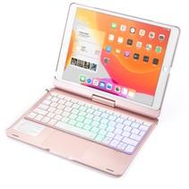 iPad 10.2 2019 / 2020 case - QWERTY - Bluetooth Toetsenbord hoes - met Touchpad & Toetsenbord verlichting - 360 graden draaibaar - Rose Goud
