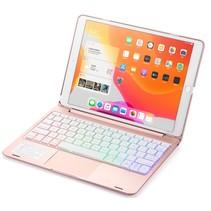 iPad 10.2 2019 / 2020 / 2021 case - Bluetooth Toetsenbord hoes - met Touchpad - Rosé-Goud