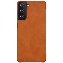 Samsung Galaxy S21 Hoesje - Qin Leather Case - Flip Cover - Bruin