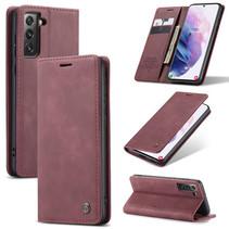CaseMe - Samsung Galaxy S21 hoesje - Wallet Book Case - Magneetsluiting - Donker Rood