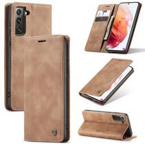 CaseMe - Samsung Galaxy S21 hoesje - Wallet Book Case - Magneetsluiting - Licht Bruin