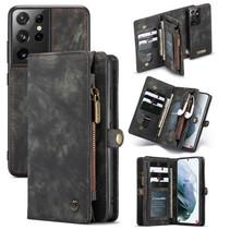 CaseMe - Samsung Galaxy S21 Ultra Hoesje - 2 in 1 Back Cover - Zwart