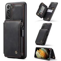 CaseMe - Samsung Galaxy S21 Hoesje - Back Cover - met RFID Pasjeshouder - Zwart