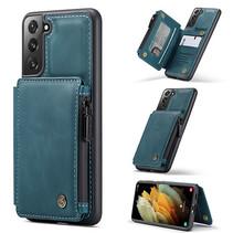CaseMe - Samsung Galaxy S21 Hoesje - Back Cover - met RFID Pasjeshouder - Blauw