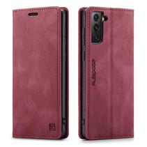 AutSpace - Samsung Galaxy S21 Plus hoesje - Wallet Book Case - Magneetsluiting - met RFID bescherming - Rood