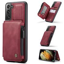 CaseMe - Samsung Galaxy S21 Plus Hoesje - Back Cover - met RFID Pasjeshouder - Rood