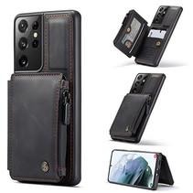 CaseMe - Samsung Galaxy S21 Ultra Hoesje - Back Cover - met RFID Pasjeshouder - Zwart