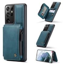 CaseMe - Samsung Galaxy S21 Ultra Hoesje - Back Cover - met RFID Pasjeshouder - Blauw