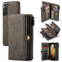 CaseMe - Samsung Galaxy S21 Plus Hoesje - Back Cover en Wallet Book Case - Multifunctioneel - Bruin