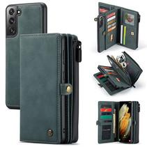 CaseMe - Samsung Galaxy S21 Plus Hoesje - Back Cover en Wallet Book Case - Multifunctioneel - Blauw