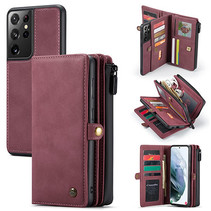 CaseMe - Samsung Galaxy S21 Ultra Hoesje - Back Cover en Wallet Book Case - Multifunctioneel - Rood