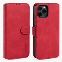 CaseMe - iPhone 12 / 12 Pro Hoesje - Magnetisch 2 in 1 Case - Ming Serie - Leren Back Cover - Rood
