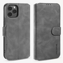 CaseMe - iPhone 12 / 12 Pro Hoesje - Magnetisch 2 in 1 Case - Ming Serie - Leren Back Cover - Grijs