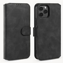 CaseMe - iPhone 12 / 12 Pro Hoesje - Magnetisch 2 in 1 Case - Ming Serie - Leren Back Cover - Zwart