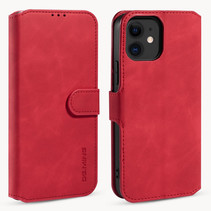 CaseMe - iPhone 12 Mini Hoesje - Magnetisch 2 in 1 Case - Ming Serie - Leren Back Cover - Rood