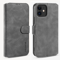 CaseMe - iPhone 12 Mini Hoesje - Met Magnetische Sluiting - Ming Serie - Leren Book Case - Grijs