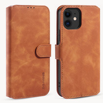 CaseMe - iPhone 12 Mini Hoesje - Met Magnetische Sluiting - Ming Serie - Leren Book Case - Licht Bruin