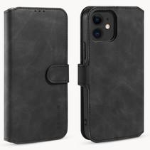 CaseMe - iPhone 12 Mini Hoesje - Met Magnetische Sluiting - Ming Serie - Leren Book Case - Zwart