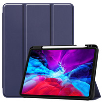 iPad Hoes voor Apple iPad Pro 2021 Hoes Cover - 11 inch - Tri-Fold Book Case - Apple Pencil Houder - Donker Blauw