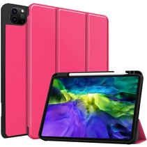 iPad Hoes voor Apple iPad Pro 2021 Hoes Cover - 11 inch - Tri-Fold Book Case - Apple Pencil Houder - Magenta