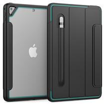 Apple iPad 9.7 2017/2018 Hoes - Tri-Fold Book Case met Transparante Back Cover en Pencil Houder - Licht Blauw/Zwart