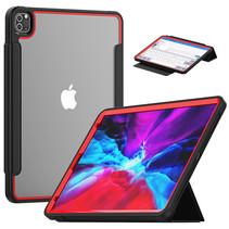 Apple iPad Pro 12.9 (2018/2020) Hoes - Tri-Fold Book Case met Transparante Back Cover en Pencil Houder - Rood/Zwart