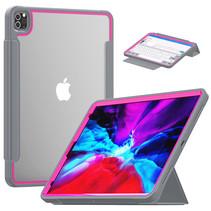 Apple iPad Pro 12.9 (2018/2020) Hoes - Tri-Fold Book Case met Transparante Back Cover en Pencil Houder - Roze/Grijs