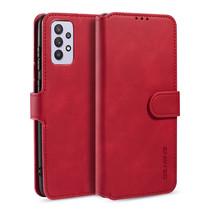 CaseMe - Samsung Galaxy A32 5G Hoesje - Met Magnetische Sluiting - Ming Serie - Leren Book Case - Rood